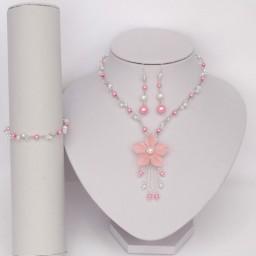 Bracelet et boucles d'oreilles rose blanc cristal pour Ludivine