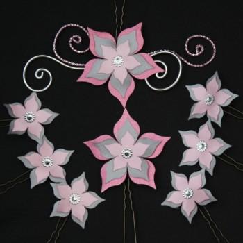 Epingles à cheveux mariage fleur personnalisées rose et gris
