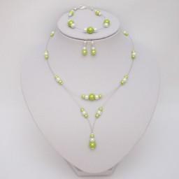 Bijoux mariage personnalisés en blanc et vert anis