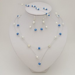 Bijoux mariage personnalisés bleu royal et blanc