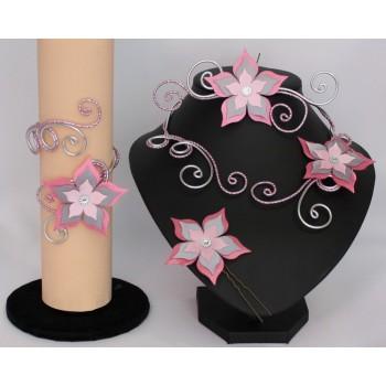 Bijoux mariage personnalisés en rose et gris